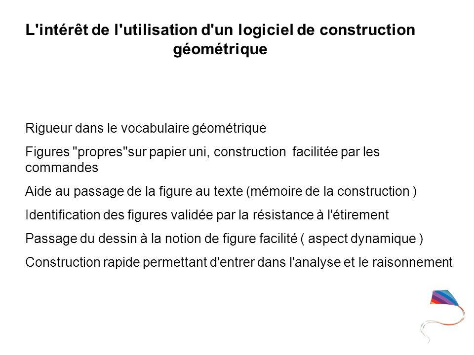 L intérêt de l utilisation d un logiciel de construction géométrique