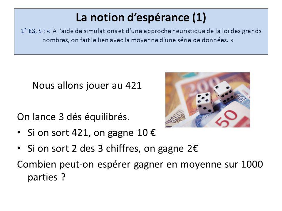 La notion d'espérance (1) 1° ES, S : « À l'aide de simulations et d'une approche heuristique de la loi des grands nombres, on fait le lien avec la moyenne d'une série de données. »