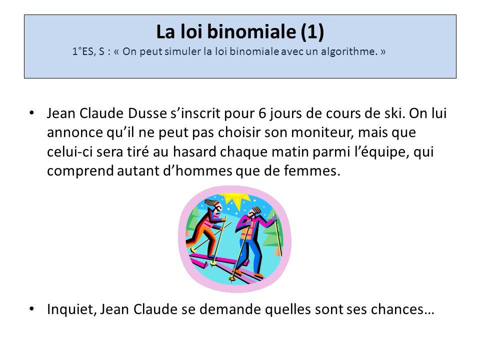 La loi binomiale (1) 1°ES, S : « On peut simuler la loi binomiale avec un algorithme. »