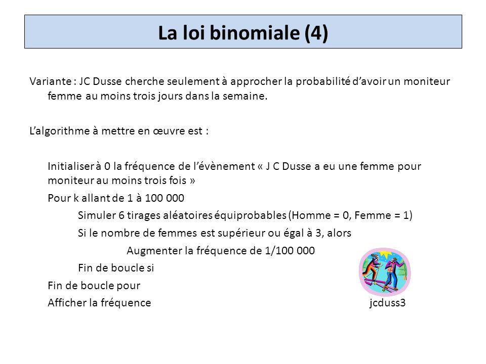La loi binomiale (4) Variante : JC Dusse cherche seulement à approcher la probabilité d'avoir un moniteur femme au moins trois jours dans la semaine.