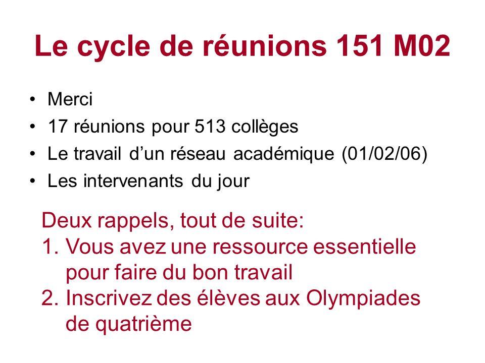 Le cycle de réunions 151 M02 Deux rappels, tout de suite: