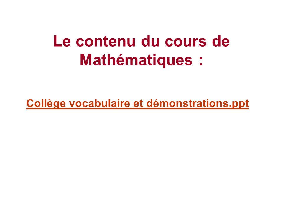 Le contenu du cours de Mathématiques :