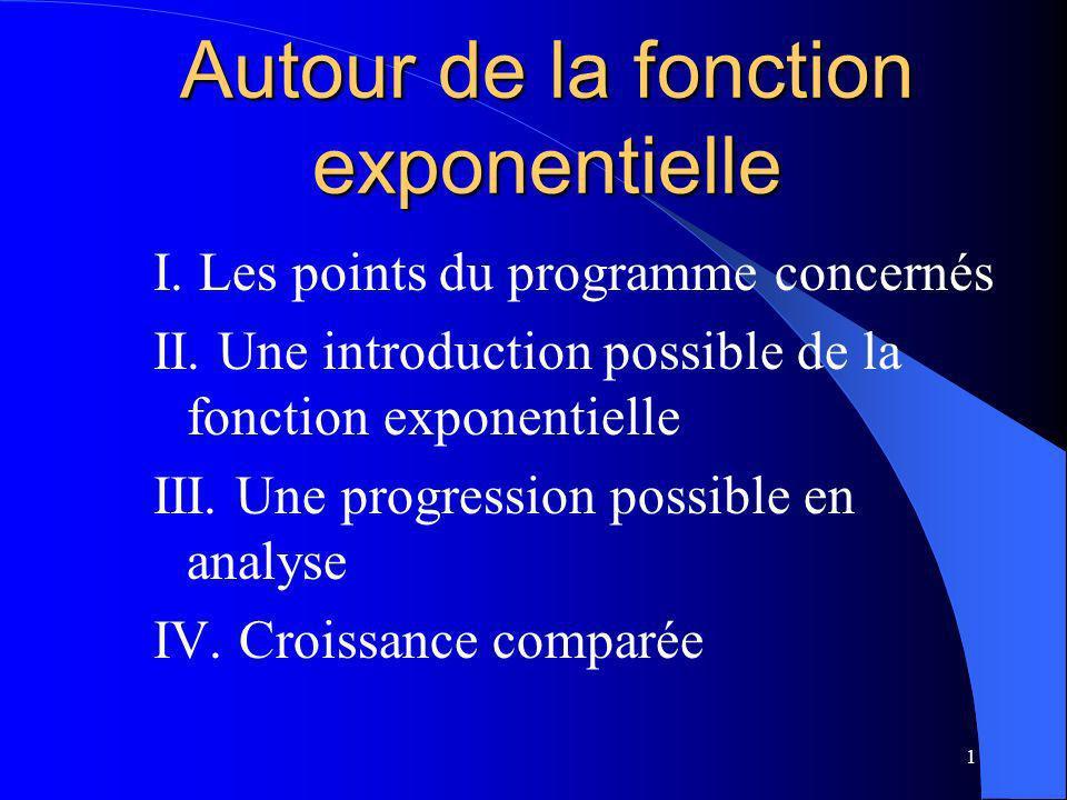 Autour de la fonction exponentielle