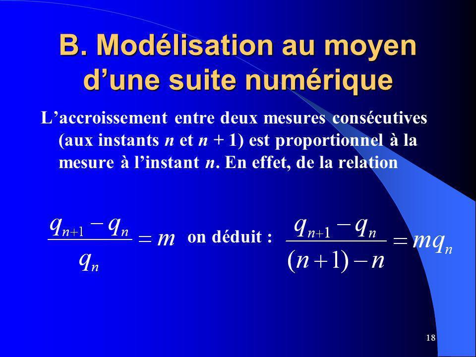 B. Modélisation au moyen d'une suite numérique