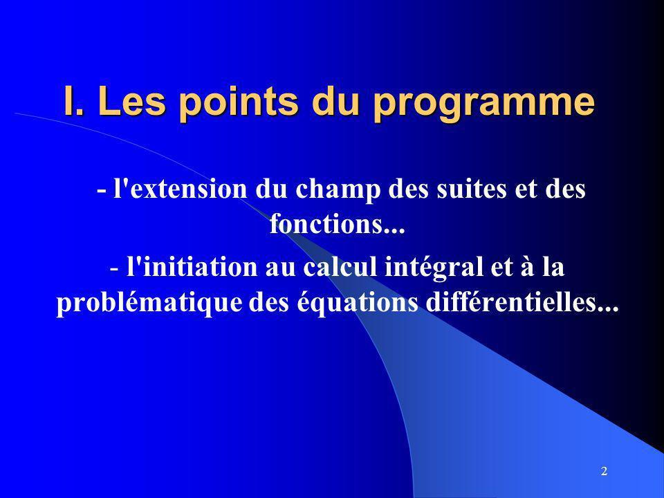 I. Les points du programme