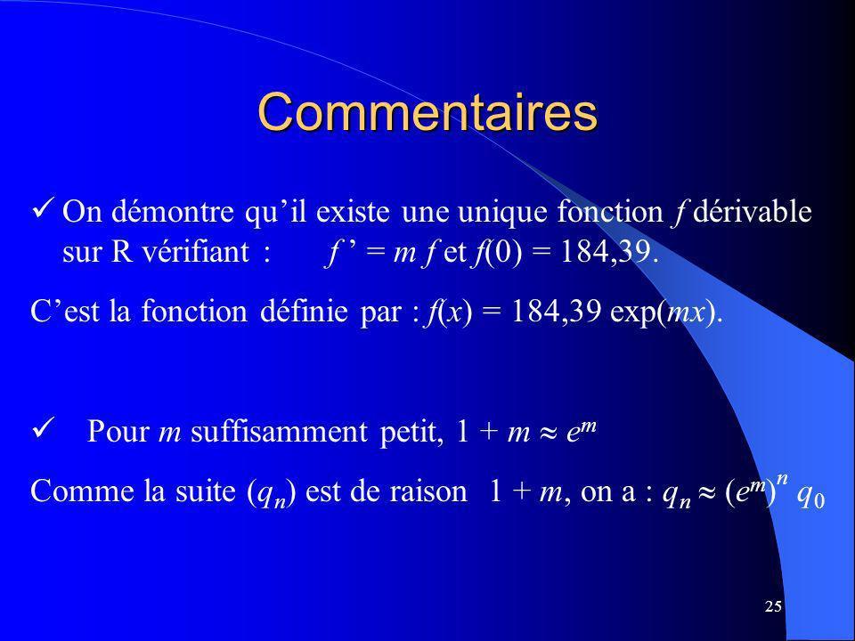 Commentaires On démontre qu'il existe une unique fonction f dérivable sur R vérifiant : f ' = m f et f(0) = 184,39.