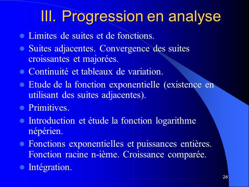 III. Progression en analyse