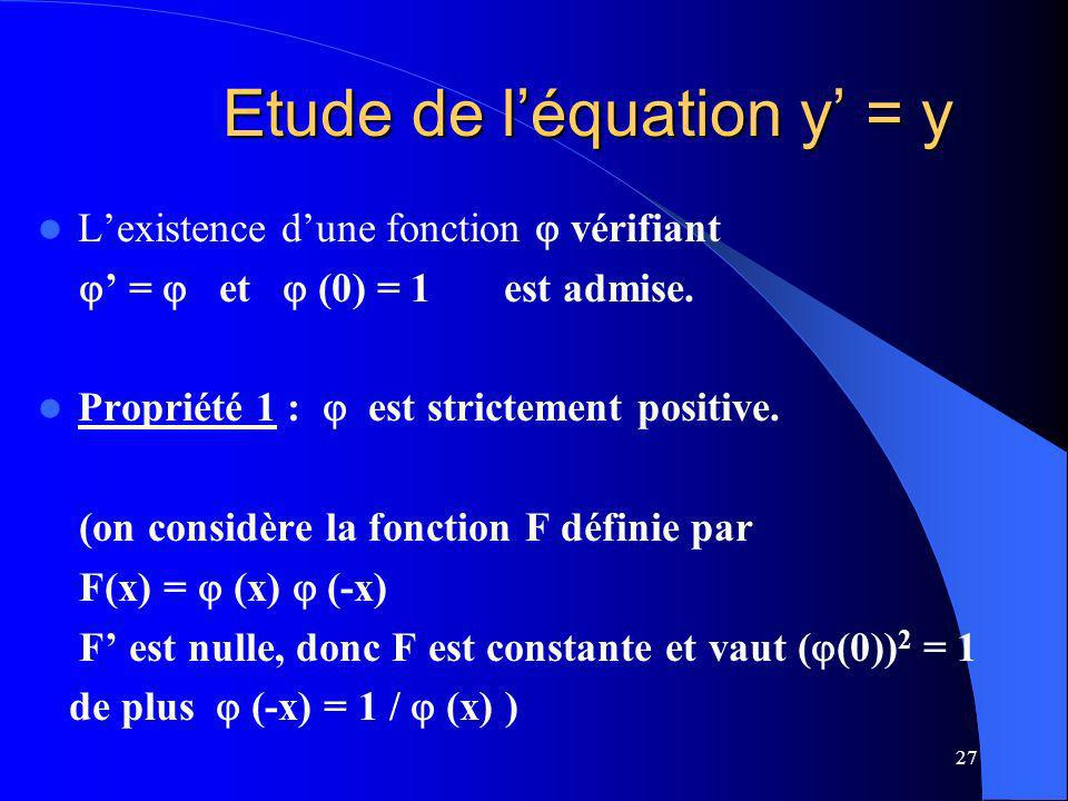 Etude de l'équation y' = y