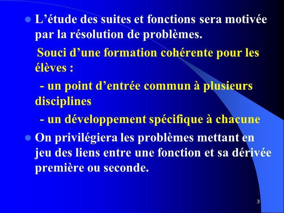 L'étude des suites et fonctions sera motivée par la résolution de problèmes.