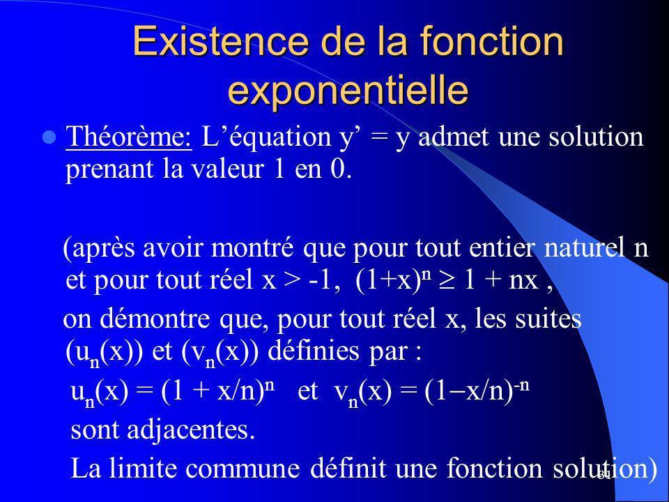 Existence de la fonction exponentielle