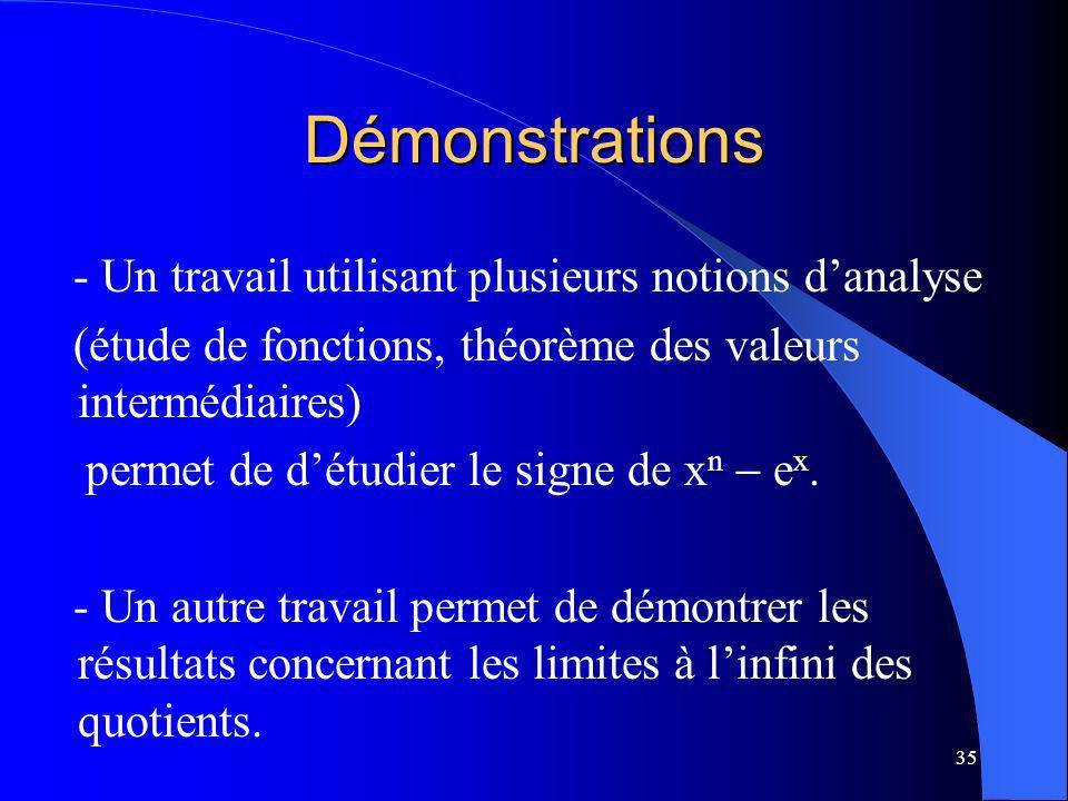 Démonstrations - Un travail utilisant plusieurs notions d'analyse