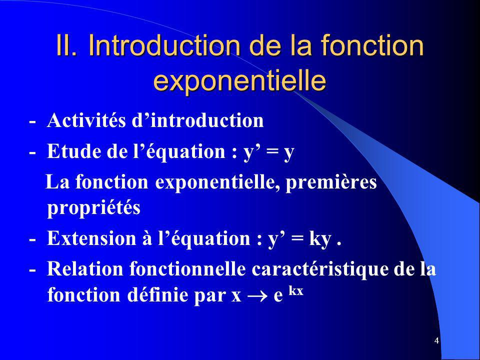 II. Introduction de la fonction exponentielle