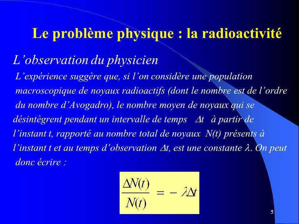 Le problème physique : la radioactivité