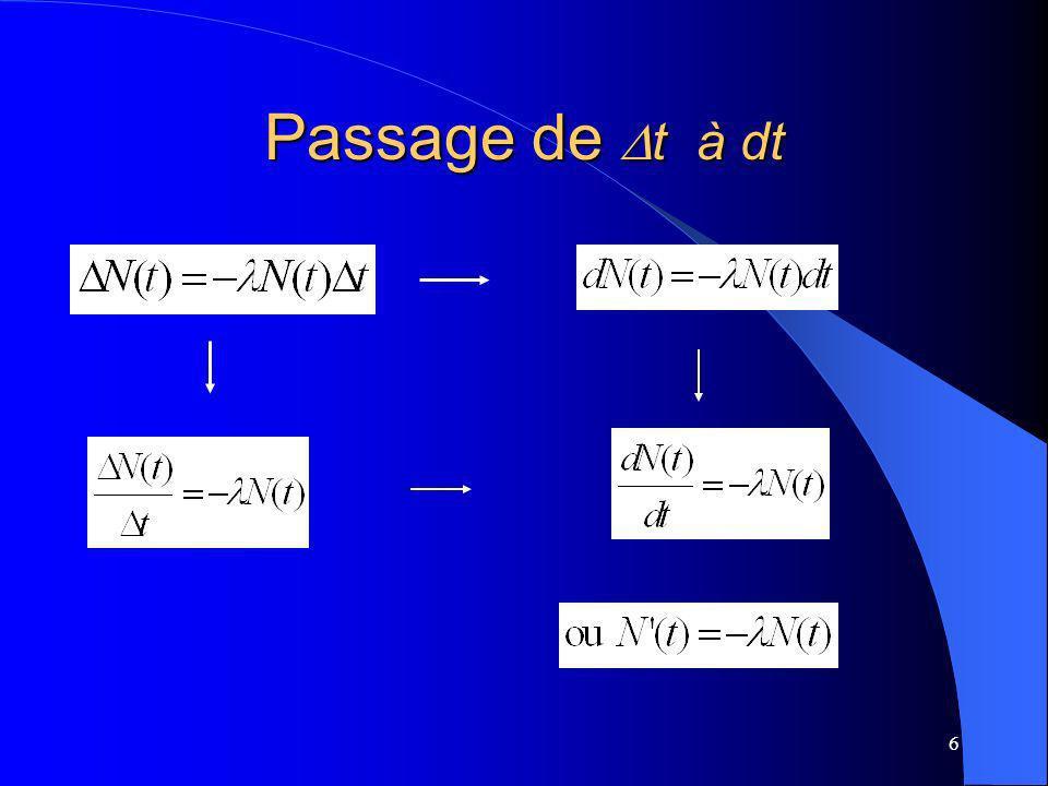 Passage de Dt à dt