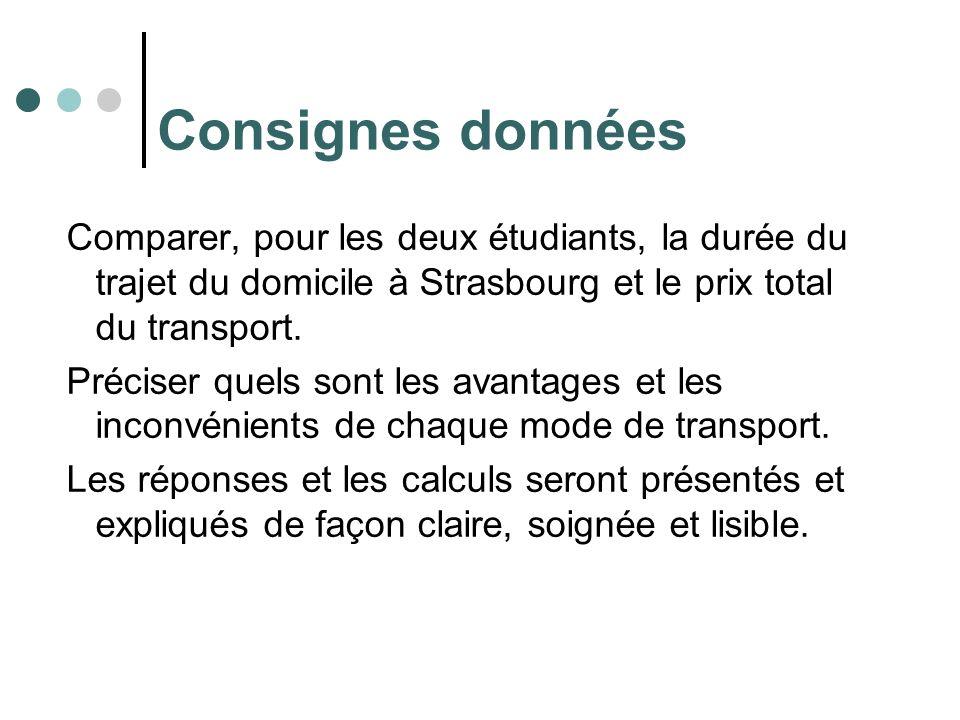 Consignes données Comparer, pour les deux étudiants, la durée du trajet du domicile à Strasbourg et le prix total du transport.
