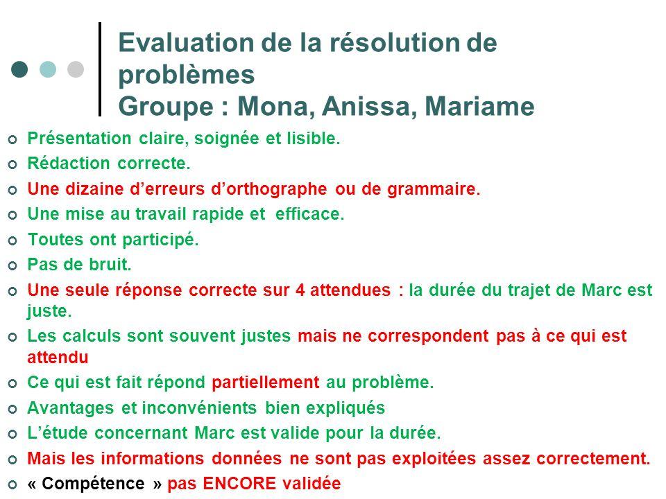 Evaluation de la résolution de problèmes Groupe : Mona, Anissa, Mariame