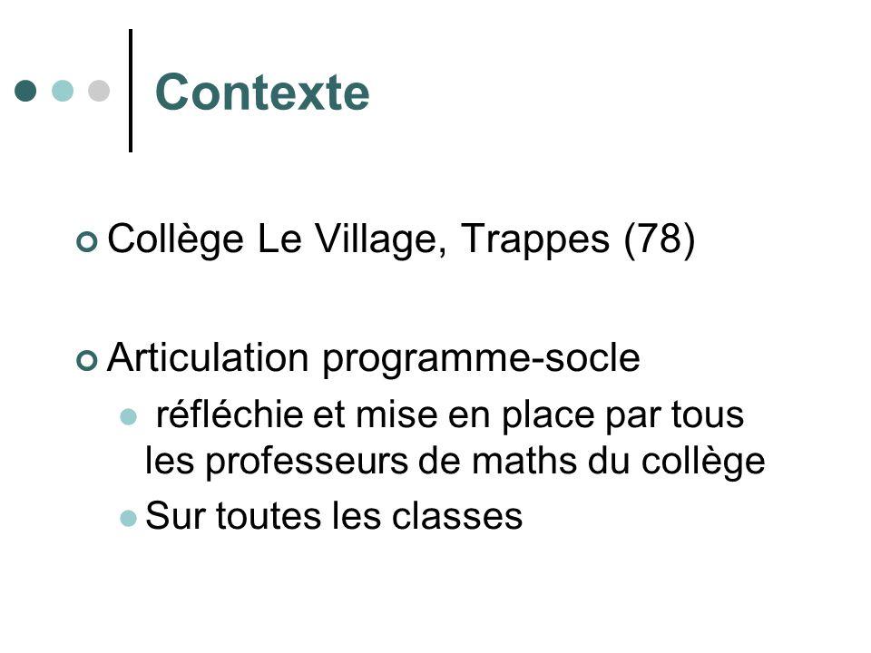 Contexte Collège Le Village, Trappes (78) Articulation programme-socle