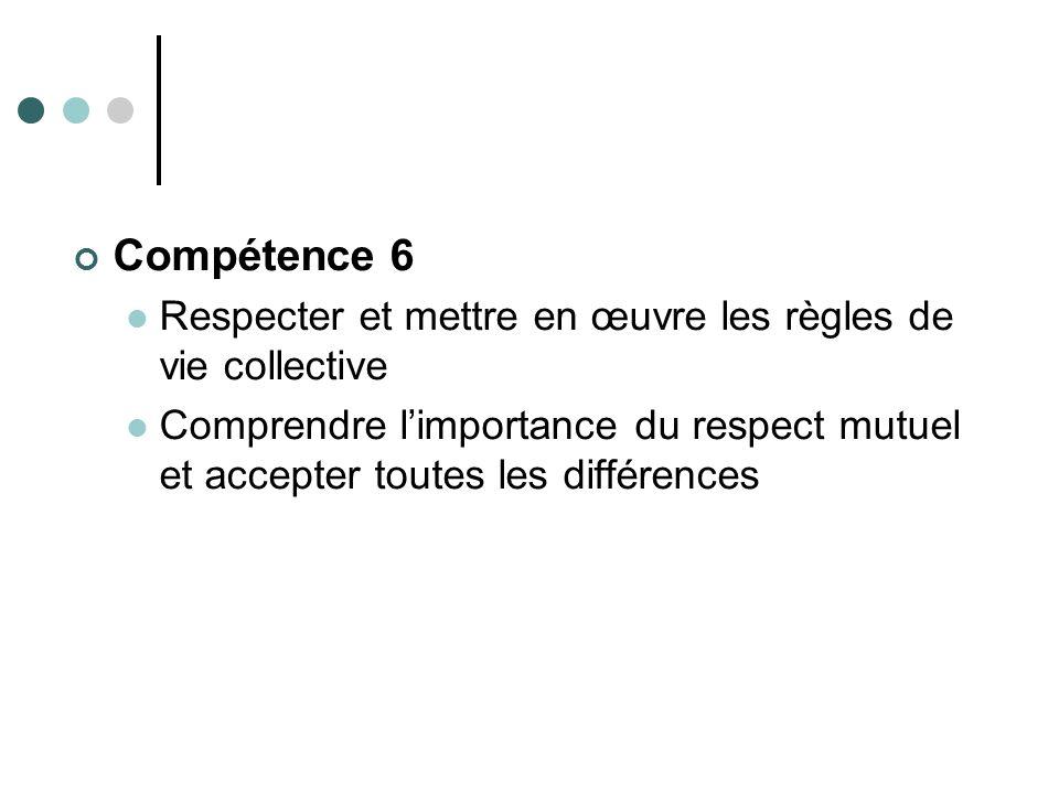 Compétence 6 Respecter et mettre en œuvre les règles de vie collective