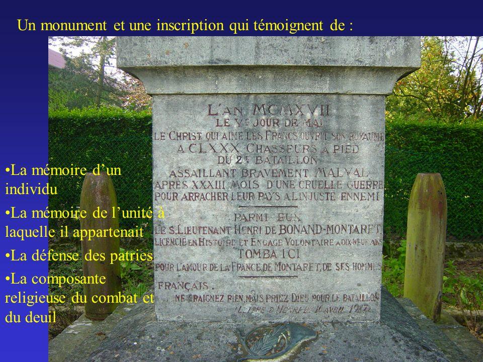 Un monument et une inscription qui témoignent de :