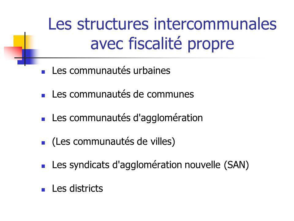 Les structures intercommunales avec fiscalité propre