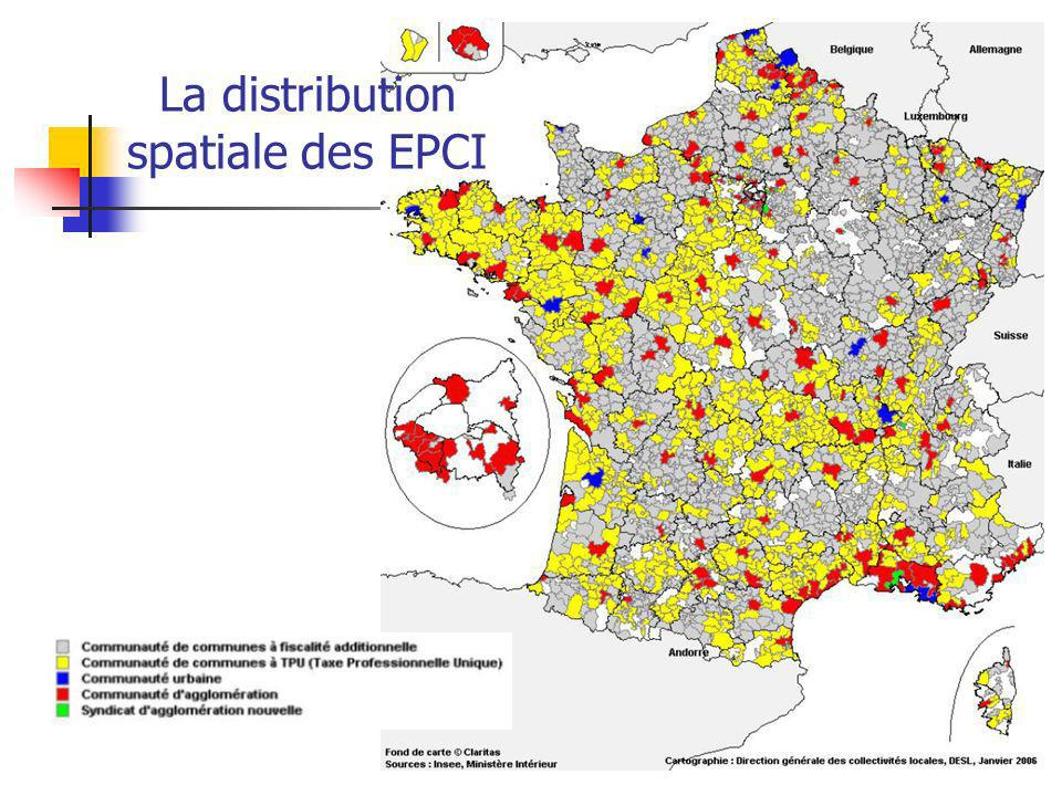 La distribution spatiale des EPCI
