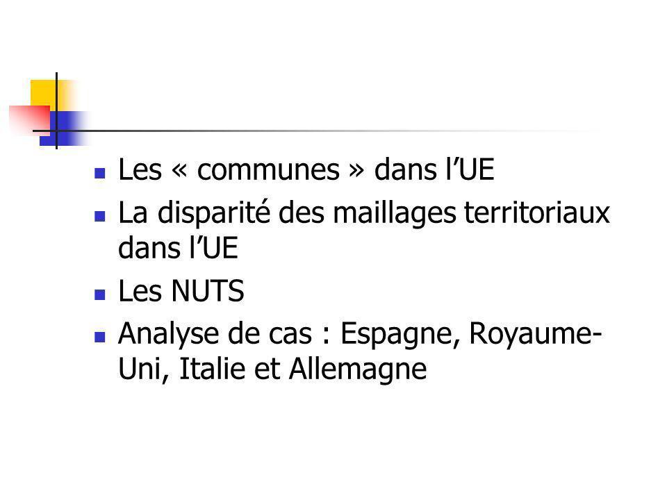 Les « communes » dans l'UE