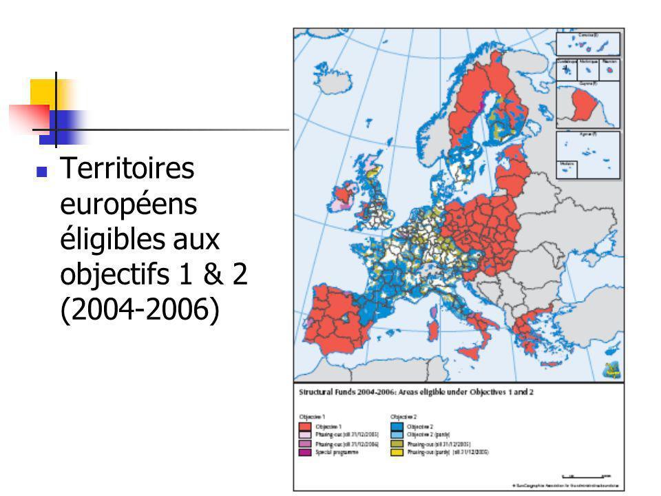 Territoires européens éligibles aux objectifs 1 & 2 (2004-2006)