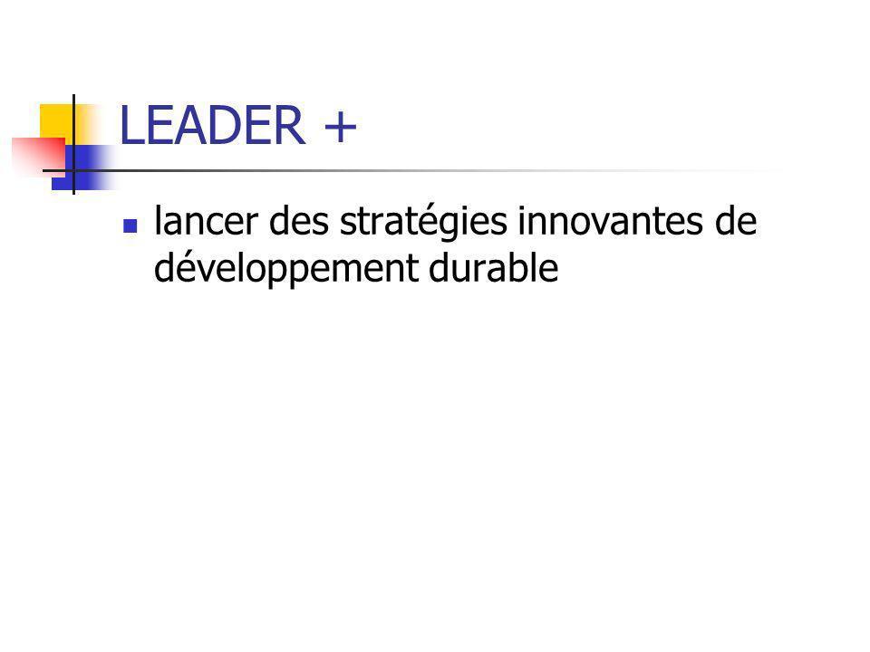 LEADER + lancer des stratégies innovantes de développement durable