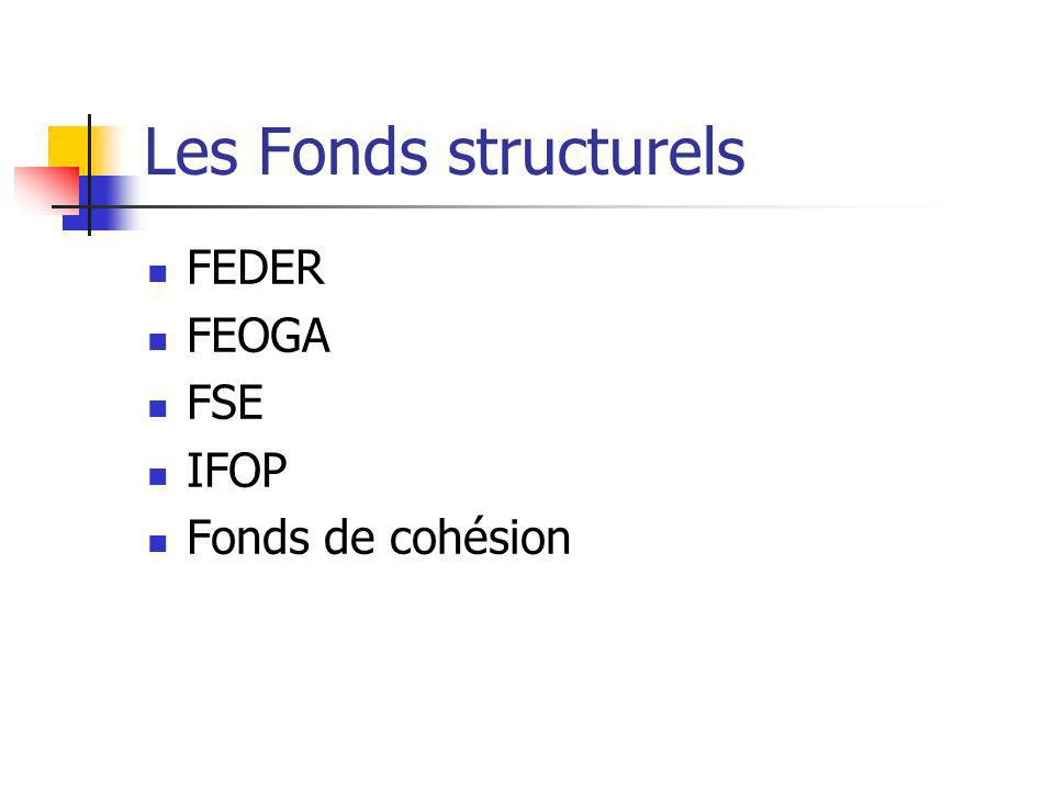 Les Fonds structurels FEDER FEOGA FSE IFOP Fonds de cohésion