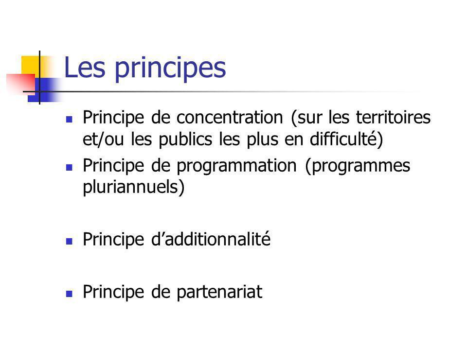 Les principes Principe de concentration (sur les territoires et/ou les publics les plus en difficulté)