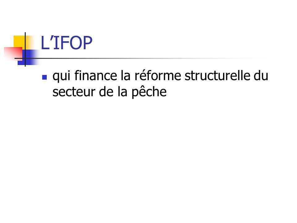 L'IFOP qui finance la réforme structurelle du secteur de la pêche