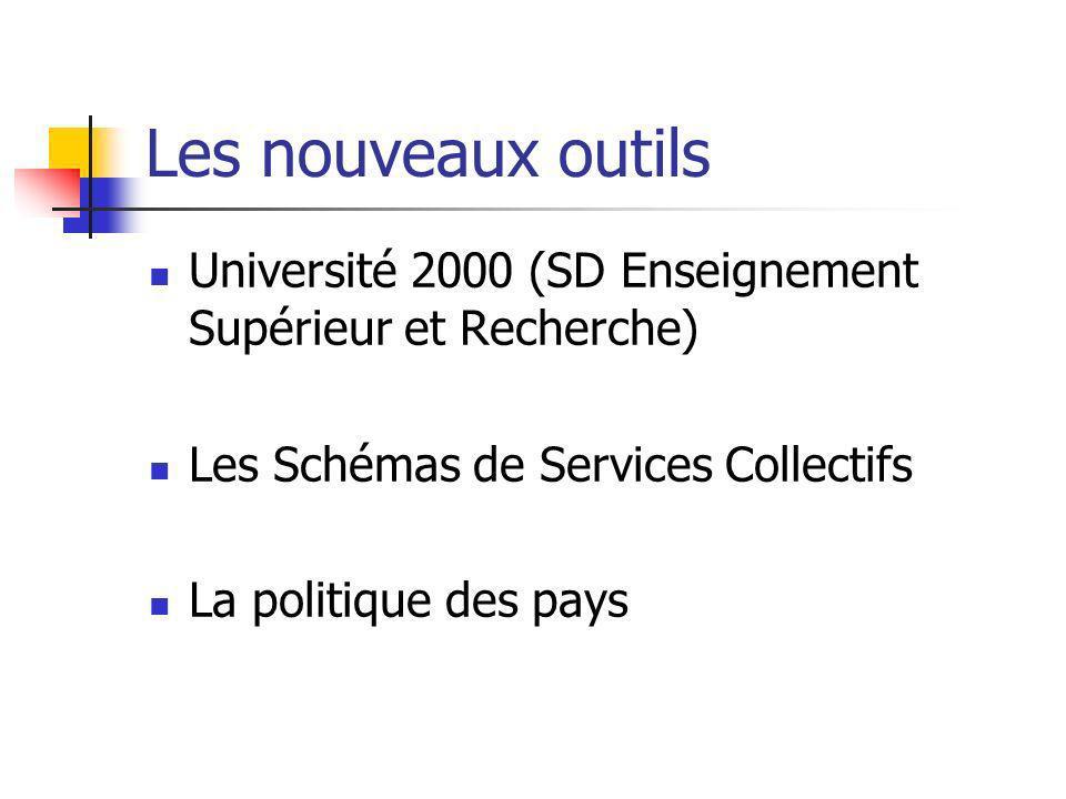 Les nouveaux outils Université 2000 (SD Enseignement Supérieur et Recherche) Les Schémas de Services Collectifs.
