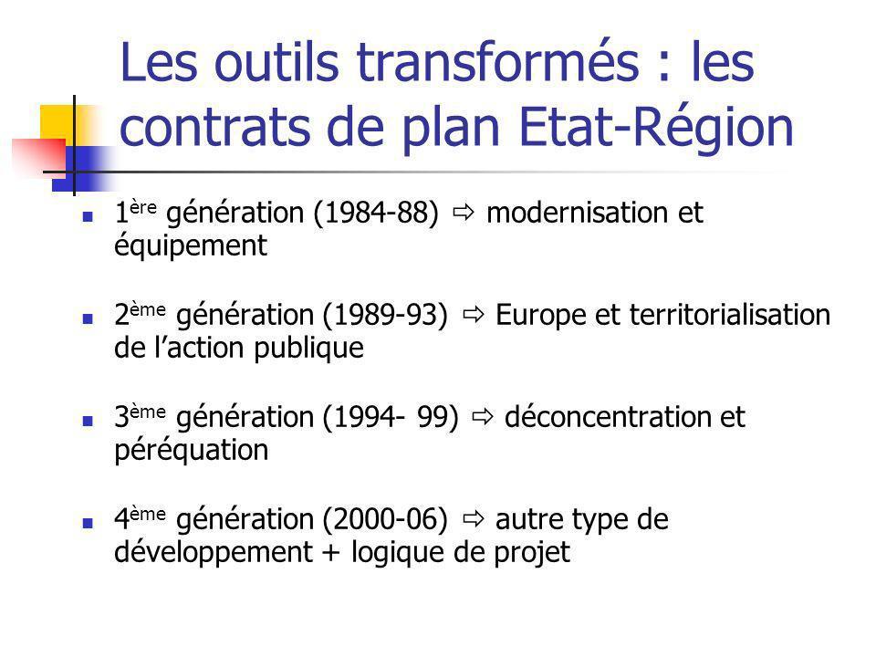 Les outils transformés : les contrats de plan Etat-Région