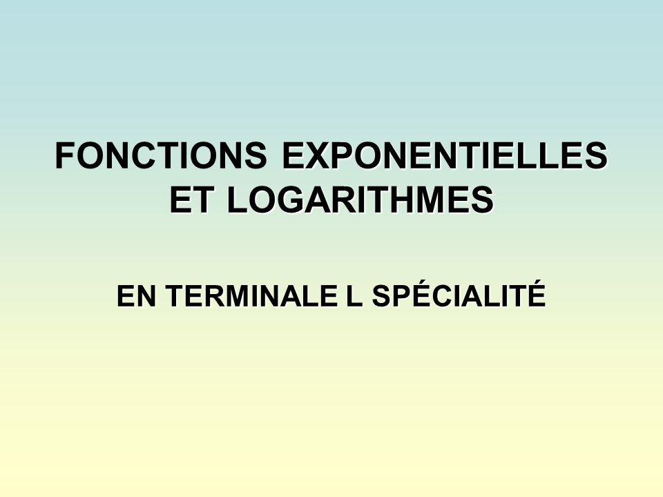 FONCTIONS EXPONENTIELLES ET LOGARITHMES