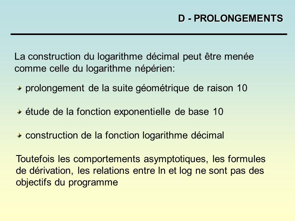 D - PROLONGEMENTS La construction du logarithme décimal peut être menée comme celle du logarithme népérien: