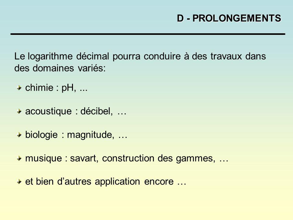 D - PROLONGEMENTS Le logarithme décimal pourra conduire à des travaux dans des domaines variés: chimie : pH, ...