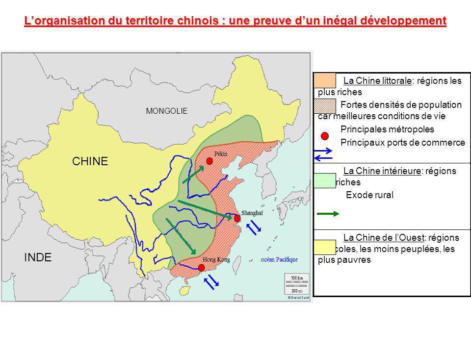 L'organisation du territoire chinois : une preuve d'un inégal développement