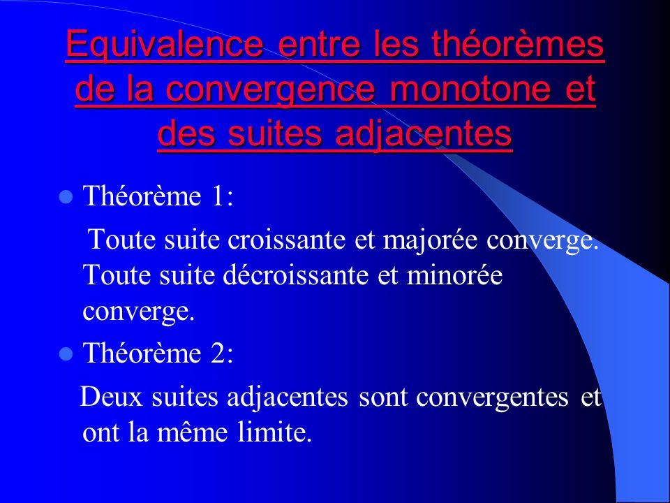 Equivalence entre les théorèmes de la convergence monotone et des suites adjacentes