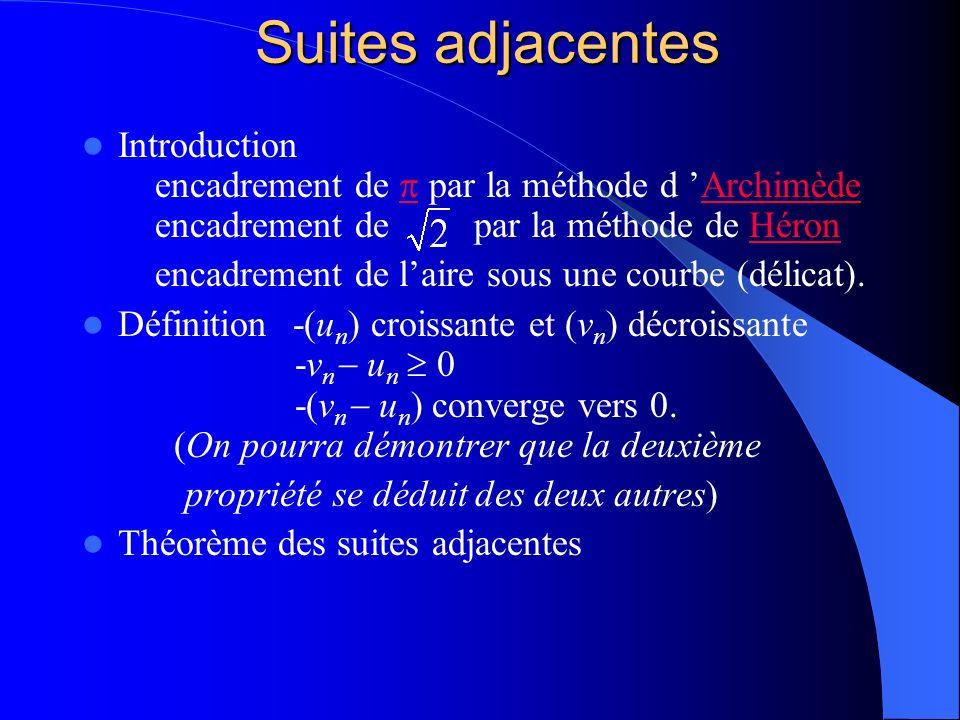 Suites adjacentes Introduction encadrement de  par la méthode d 'Archimède encadrement de par la méthode de Héron.