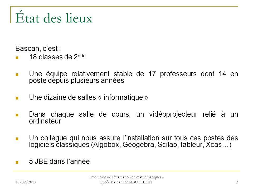 Evolution de l évaluation en mathématiques - Lycée Bascan RAMBOUILLET