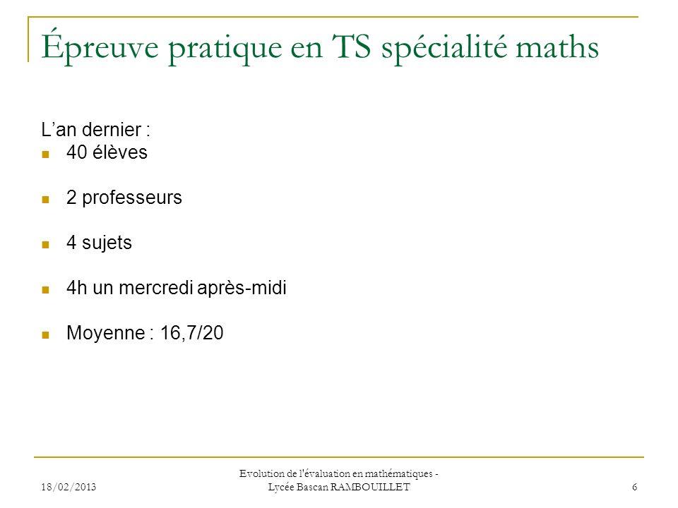 Épreuve pratique en TS spécialité maths