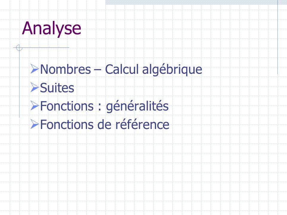 Analyse Nombres – Calcul algébrique Suites Fonctions : généralités