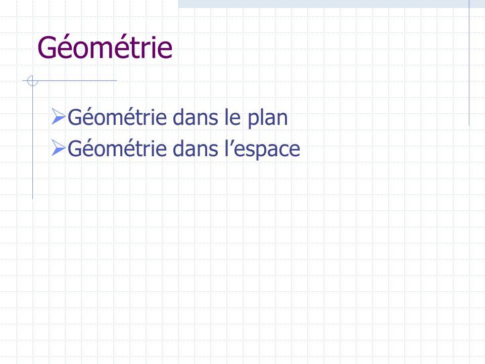 Géométrie Géométrie dans le plan Géométrie dans l'espace