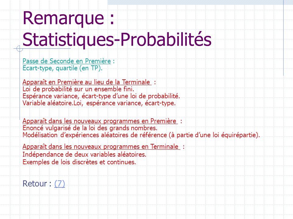 Remarque : Statistiques-Probabilités