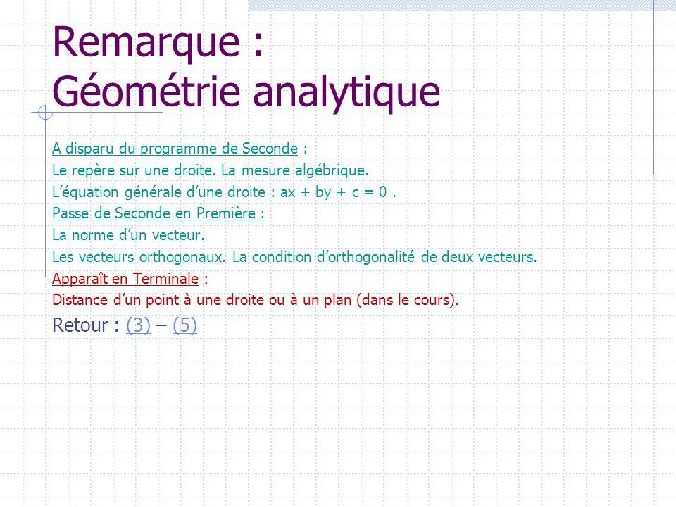 Remarque : Géométrie analytique