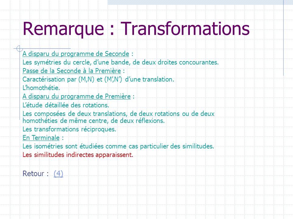 Remarque : Transformations