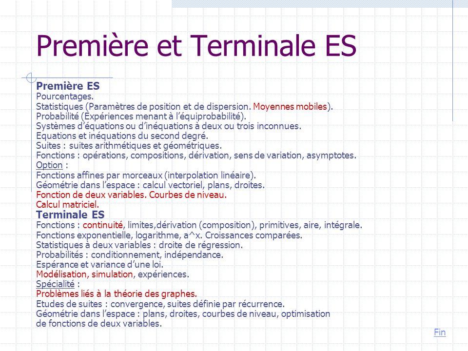 Première et Terminale ES