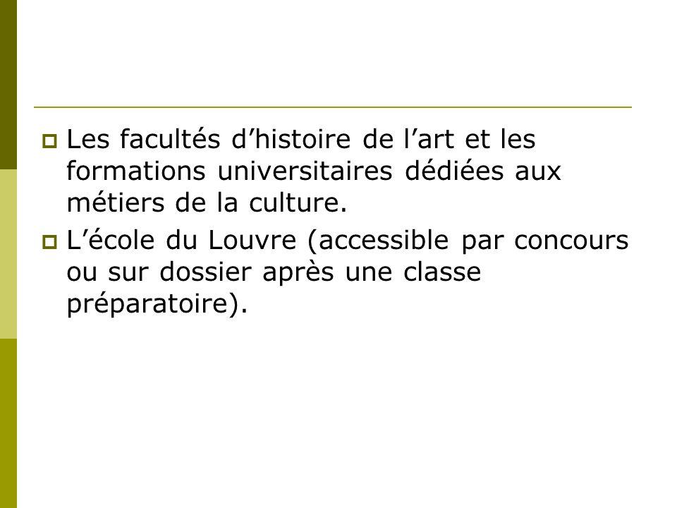 Les facultés d'histoire de l'art et les formations universitaires dédiées aux métiers de la culture.
