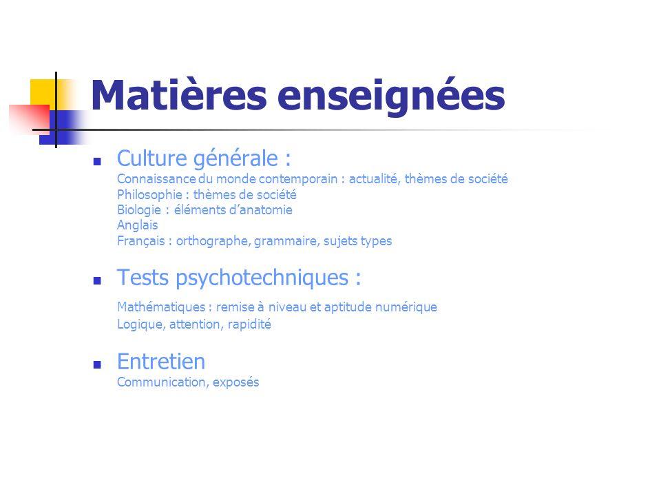 Matières enseignées Culture générale : Tests psychotechniques :