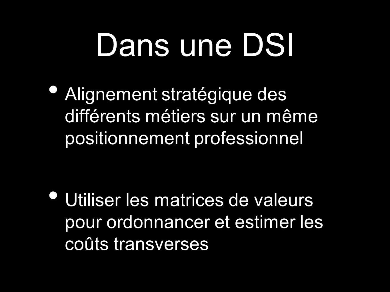 Dans une DSIAlignement stratégique des différents métiers sur un même positionnement professionnel.